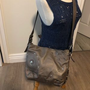 Crossbody silver/gray Coach handbag